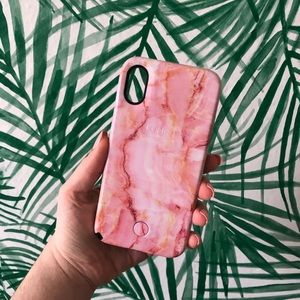 LuMee iPhone X Pink Marbled Light up Case